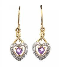 18CT GOLD AMETHYST AND DIAMOND HEART-SHAPED EARRINGS at Ross's Jewellery Auctions