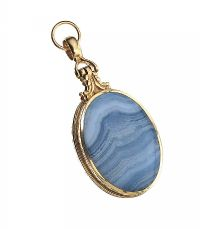 GOLD-TONE AGATE FOB PENDANT at Ross's Jewellery Auctions