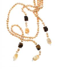 DOUBLE STRAND OF LEMON CITRINE AND TIGER EYE FRESHWATER PEARLS at Ross's Jewellery Auctions