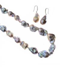 STRAND OF GREY BAROQUE PEARLS AND EARRINGS at Ross's Jewellery Auctions
