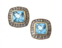 9CT GOLD BLUE STONE AND DIAMOND EARRINGS at Ross's Jewellery Auctions