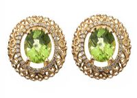14CT GOLD PERIDOT AND DIAMOND EARRINGS at Ross's Jewellery Auctions