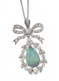 18CT WHITE GOLD OPAL AND DIAMOND PENDANT at Ross's Jewellery Auctions