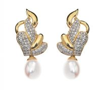 18CT WHITE GOLD PEARL AND DIAMOND EARRINGS at Ross's Jewellery Auctions
