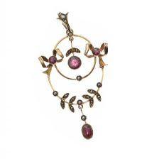 9CT GOLD AMETHYST AND SEED PEARL PENDANT at Ross's Jewellery Auctions