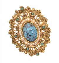 GOLD-TONE SEED PEARL AND TURQUOISE BROOCH at Ross's Jewellery Auctions
