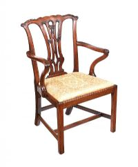 GEORGIAN MAHOGANY PIERCED BACK ARMCHAIR at Ross's Auctions