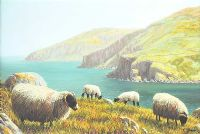 SHEEP NEAR THE GIANTS CAUSEWAY by Keith Glasgow at Ross's Auctions