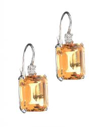 18CT WHITE GOLD CITRINE AND DIAMOND EARRINGS at Ross's Jewellery Auctions