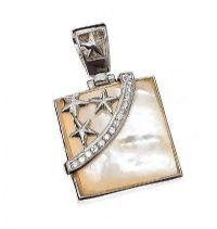 STERLING SILVER MOTHER OF PEARL AND CRYSTAL PENDANT at Ross's Jewellery Auctions