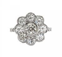 18CT WHITE GOLD DIAMOND CLUSTER RING at Ross's Auctions