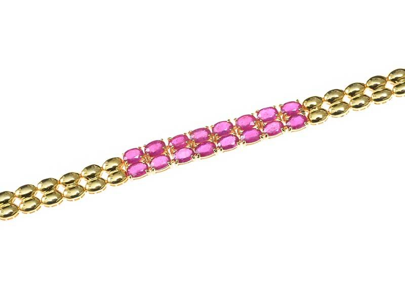 GOLD-TONE RUBY BRACELET at Ross's Online Art Auctions