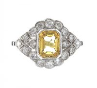 18CT WHITE GOLD YELLOW SAPPHIRE AND DIAMOND RING at Ross's Auctions