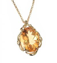 9CT GOLD GOLDEN TOPAZ NECKLACE at Ross's Auctions
