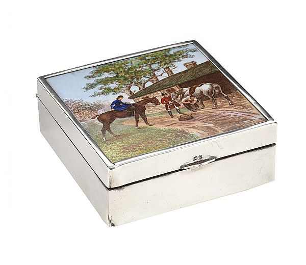 SILVER & ENAMEL BOX at Ross's Online Art Auctions