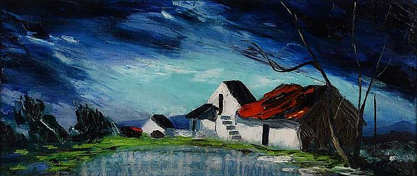 FARM BUILDINGS, WEST OF IRELAND by Kenneth Webb RUA at Ross's Online Art Auctions