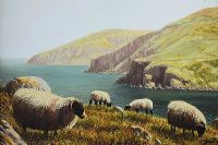 SHEEP NEAR THE GIANT'S CAUSEWAY by Keith Glasgow at Ross's Auctions