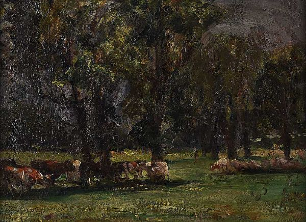 CATTLE GRAZING BY TREES by Irish School at Ross's Online Art Auctions
